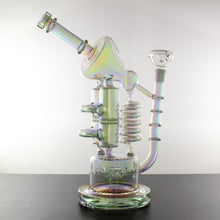 "12.5"" Holographic Rainbow Multi-Chamber Recycler Bong with Sprinkler Coil and Double Honeycomb Percolators with Splash Guard - Lazy Panda"