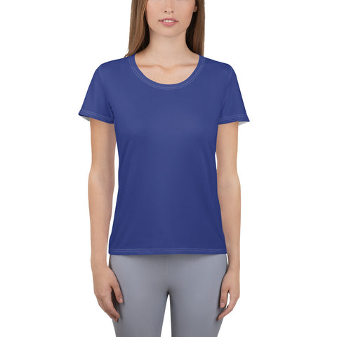 All-Over Print Women's Athletic T-shirt Reflex Blue.