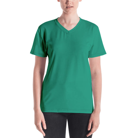 Women's V-neck  Emerald Green.