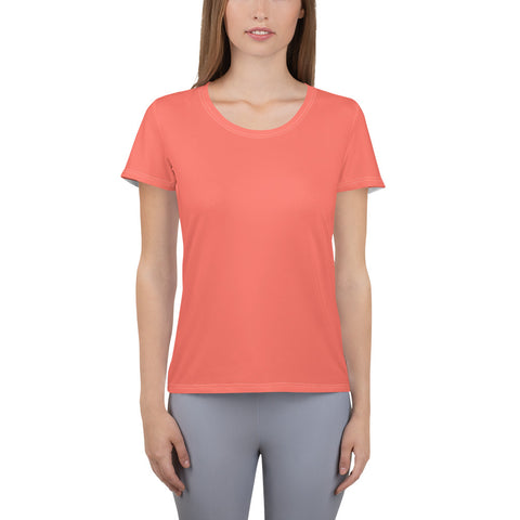 All-Over Print Women's Athletic T-shirt Living Coral.