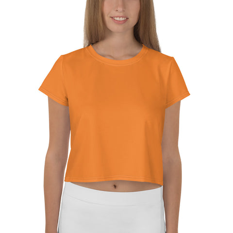 All-Over Print Crop Tee Tumeric Orange.