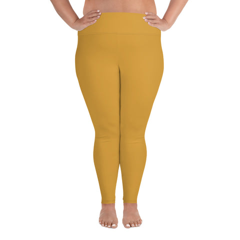 All-Over Print Plus Size Leggings Mango Yellow