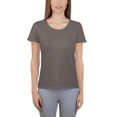 All-Over Print Women's Athletic T-shirt Granite Brown.