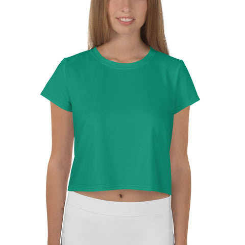 All-Over Print Crop Tee Emerald Green.