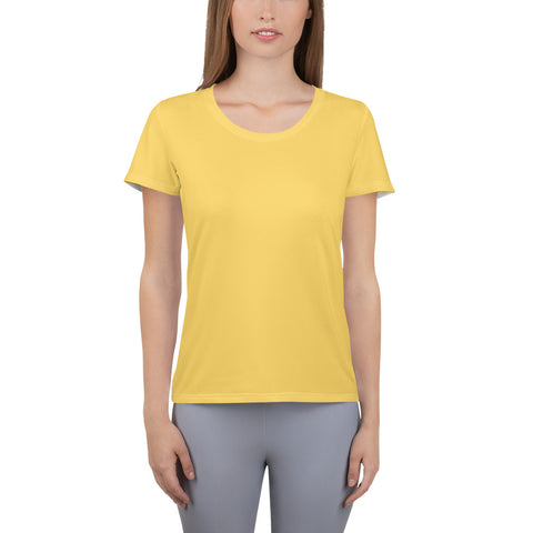 All-Over Print Women's Athletic T-shirt Gold.