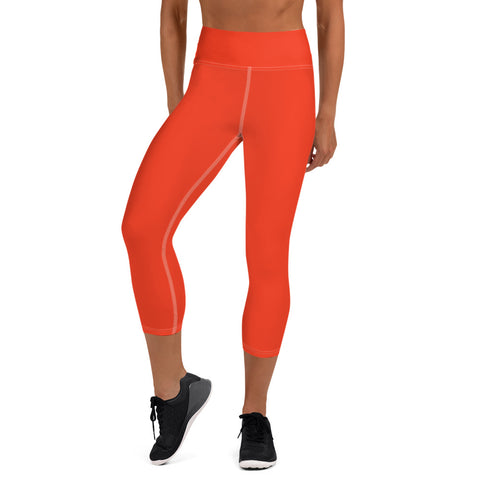 Yoga Capri Leggings Bright Red.