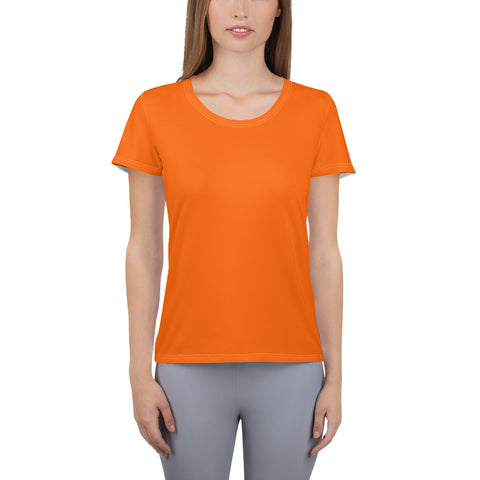 All-Over Print Women's Athletic T-shirt Bright Orange.