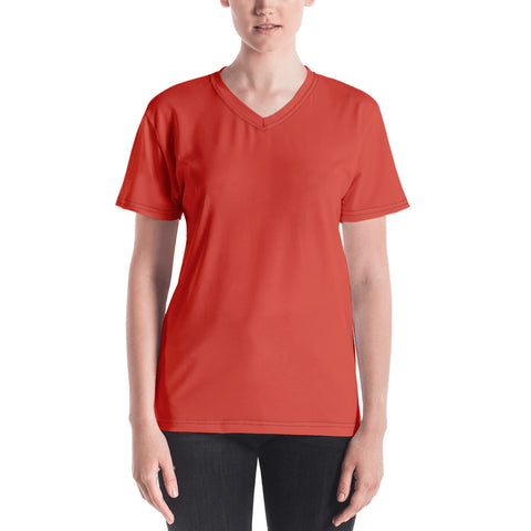 Women's V-neck Fiesta Red.