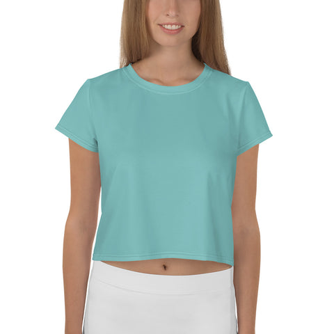 All-Over Print Crop Tee Aqua.