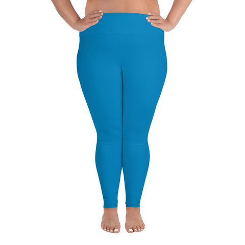 All-Over Print Plus Size Leggings Process Blue.