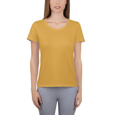 All-Over Print Women's Athletic T-shirt Mango Yellow.