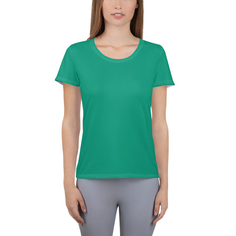 All-Over Print Women's Athletic T-shirt Emerald Green.