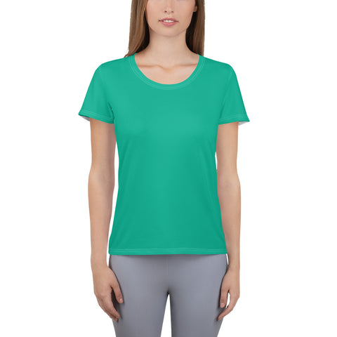 All-Over Print Women's Athletic T-shirt Bright Green.