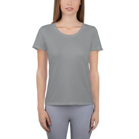 All-Over Print Women's Athletic T-shirt Brown Gray.