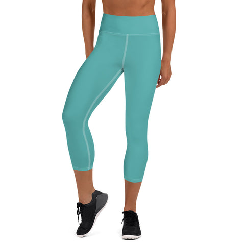 Yoga Capri Leggings Turquoise Blue.