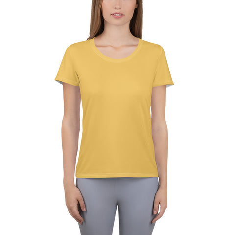 All-Over Print Women's Athletic T-shirt Mimosa Yellow.