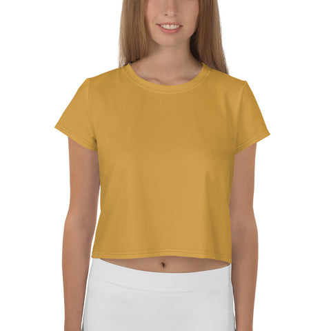 All-Over Print Crop Tee Mango Yellow.