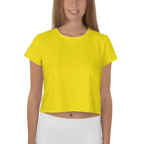 All-Over Print Crop Tee Bright Yellow.