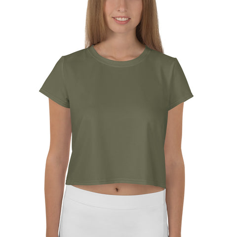 All-Over Print Crop Tee Terra Green.
