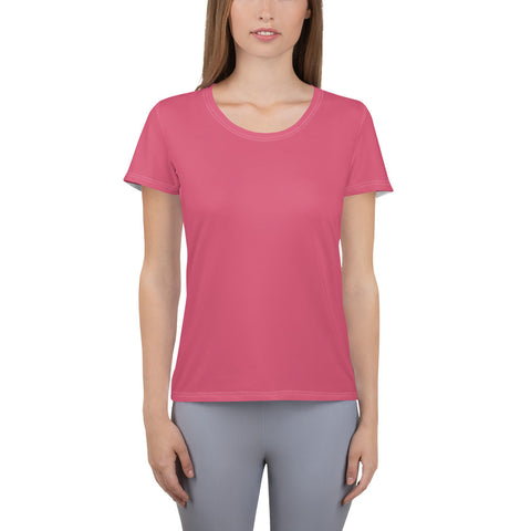 All-Over Print Women's Athletic T-shirt Honey Pink.