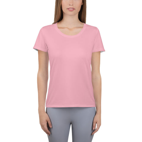 All-Over Print Women's Athletic T-shirt Salmon.