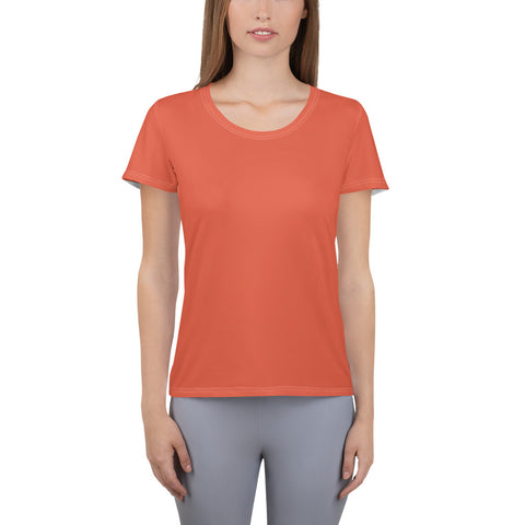 All-Over Print Women's Athletic T-shirt Lilly Orange.
