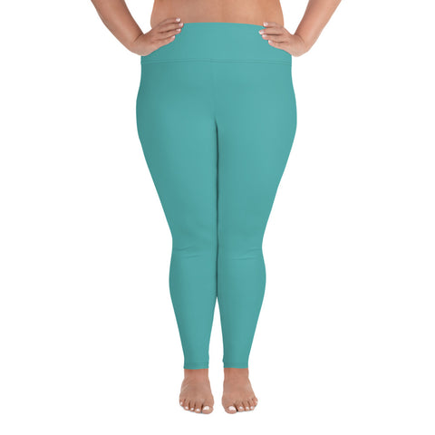 All-Over Print Plus Size Leggings Turquoise Blue