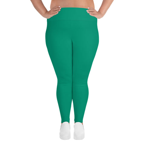 All-Over Print Plus Size Leggings Emerald Green