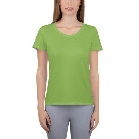 All-Over Print Women's Athletic T-shirt Greenery Green.