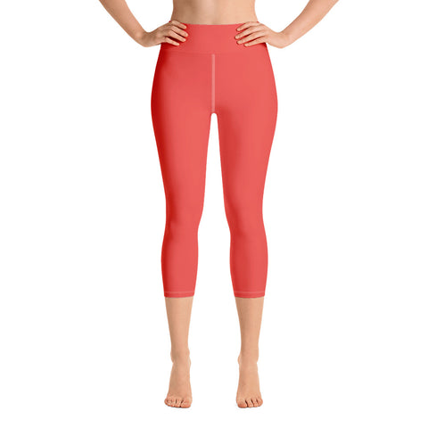 Yoga Capri Leggings Warm Red.