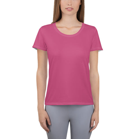 All-Over Print Women's Athletic T-shirt Fuschia Pink.