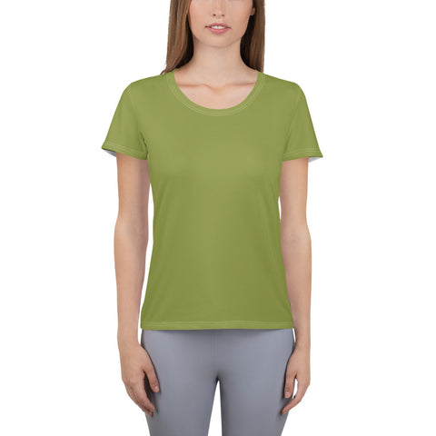 All-Over Print Women's Athletic T-shirt Pepper Green.