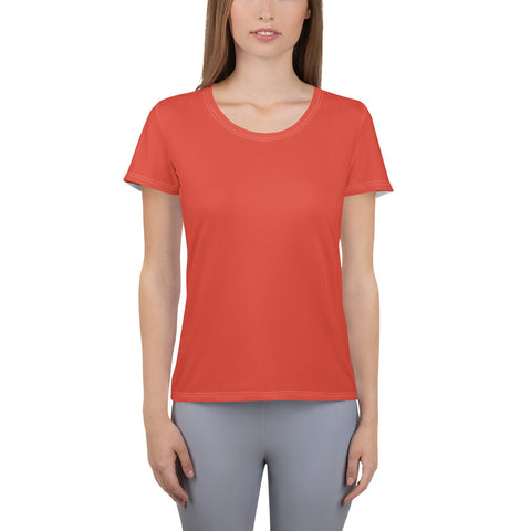 All-Over Print Women's Athletic T-shirt Fiesta Red.