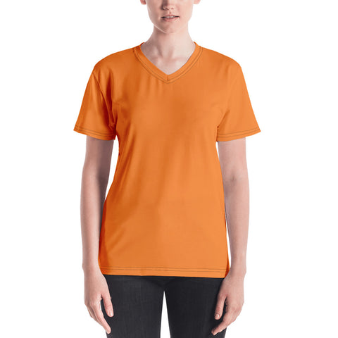 Women's V-neck Turmeric Orange.