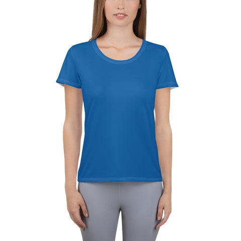 All-Over Print Women's Athletic T-shirt Prince Blue.