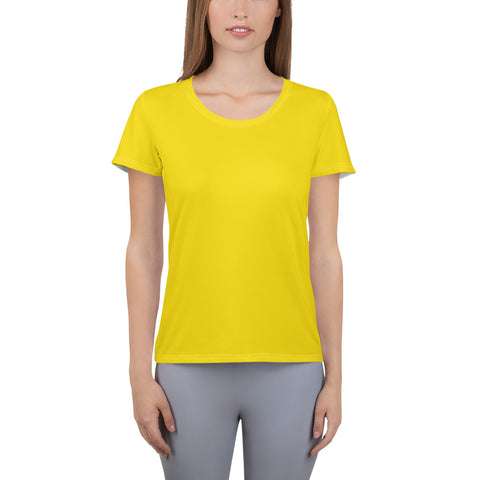 All-Over Print Women's Athletic T-shirt Medium Yellow.