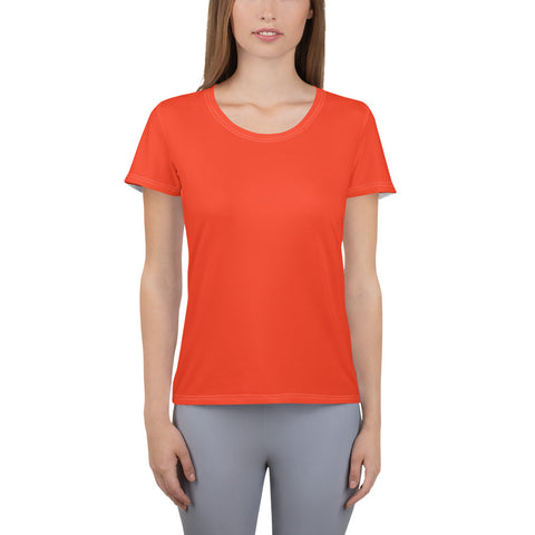 All-Over Print Women's Athletic T-shirt Bright Red.