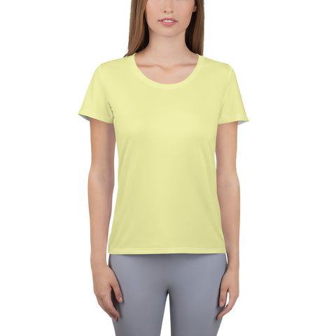 All-Over Print Women's Athletic T-shirt Light Yellow.