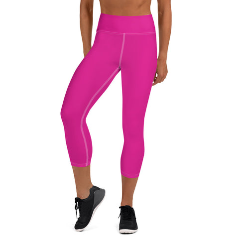 Yoga Capri Leggings Rhodamine Red.