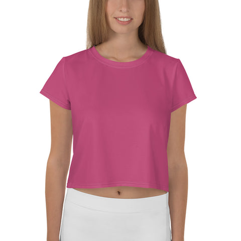 All-Over Print Crop Tee Fuschia Pink.