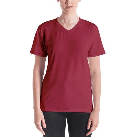 Women's V-neck Chili Red.