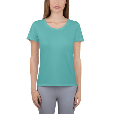 All-Over Print Women's Athletic T-shirt Turquoise Blue.