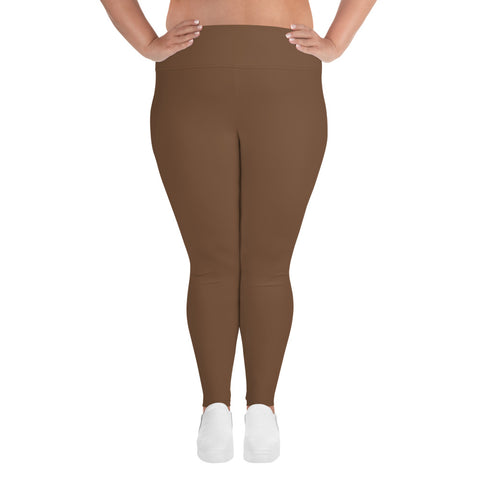 All-Over Print Plus Size Leggings Toffee Brown