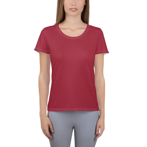 All-Over Print Women's Athletic T-shirt Chili Red.