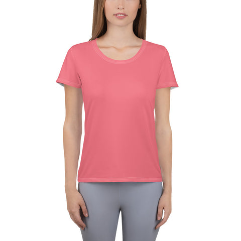 All-Over Print Women's Athletic T-shirt Fresh Pink.