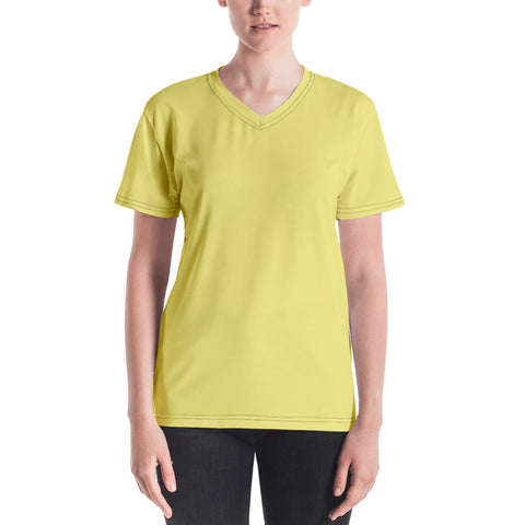 Women's V-neck  Lemon Yellow.