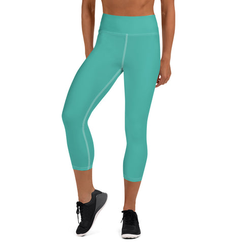 Yoga Capri Leggings Turquoise Green.