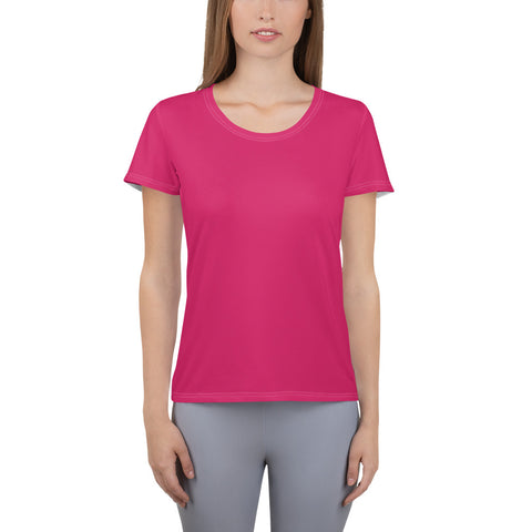 All-Over Print Women's Athletic T-shirt Rubin Red.