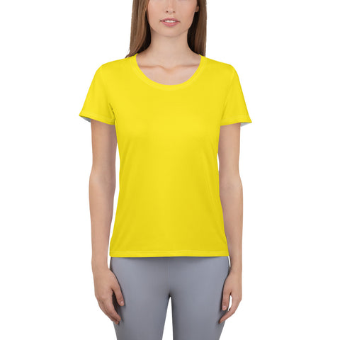 All-Over Print Women's Athletic T-shirt Bright Yellow.
