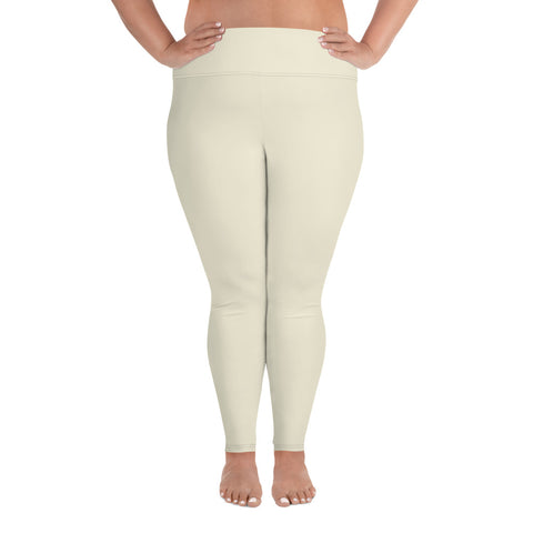 All-Over Print Plus Size Leggings Sweet White